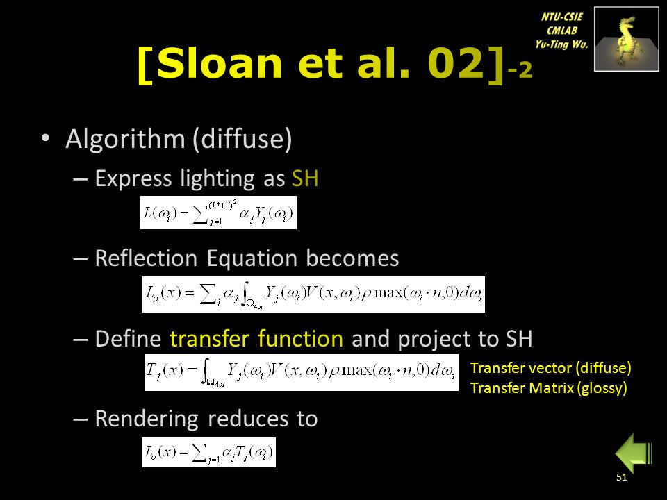 [Sloan et al. 02]-2 Algorithm (diffuse) Express lighting as SH